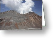 Mound Greeting Cards - Degassing Lava Dome Sitting In Summit Greeting Card by Richard Roscoe