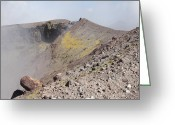 Fumarole Greeting Cards - Degassing North Crater With Fumarolic Greeting Card by Richard Roscoe
