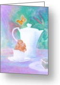 Tea Pastels Greeting Cards - Dejeuner sur table Greeting Card by Monica Bretschneider