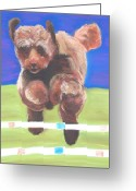 Dogs Pastels Greeting Cards - Dela Greeting Card by Christine Crosby