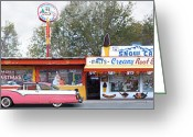 Parlor Greeting Cards - DELGADILLOS SNOW CAP DRIVE-IN on Route 66 Greeting Card by Mike McGlothlen
