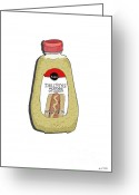 Product Painting Greeting Cards - Deli Style Mustard Greeting Card by George Pedro