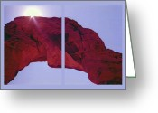Natural Formations Mixed Media Greeting Cards - Delicate Arch Diptych Greeting Card by Steve Ohlsen