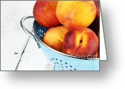 Utensil Greeting Cards - Delicious Peaches Greeting Card by Stephanie Frey