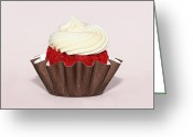 Cup Cakes Greeting Cards - Delicious Red Velvet Cupcake Greeting Card by Tracie Kaska