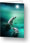Dolphin Digital Art Greeting Cards - Delightful Dolphins Greeting Card by Julie L Hoddinott