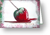 Dipped Greeting Cards - Delightfully Delectable 4 Candy Apple Greeting Card by Shana Rowe