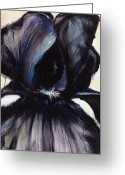 Artistic Painting Greeting Cards - Delilah Black Iris Greeting Card by Jerome Lawrence