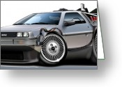 Hornet Greeting Cards - Delorean Back to the Future Greeting Card by Maddmax