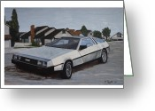 Renegade Greeting Cards - Delorean Greeting Card by Nate Geare