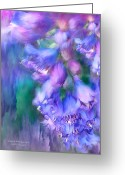 Blue Delphinium Greeting Cards - Delphinium Abstract Greeting Card by Carol Cavalaris