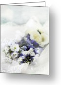 Blue Delphinium Greeting Cards - Delphiniums and Lace Greeting Card by Stephanie Frey