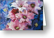 Blue Delphinium Greeting Cards - Delphiniums Greeting Card by Nancie Johnson