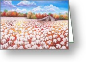 Turning Leaves Greeting Cards - Delta Cotton field with Webbs barn Greeting Card by Cecilia Putter