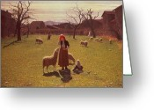 Shepherdess Painting Greeting Cards - Deluded Hopes Greeting Card by Giuseppe Pellizza da Volpedo