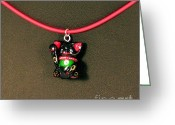 Animini Jewelry Greeting Cards - Deluxe Hand Painted Black Maneki Neko Lucky Beckoning Cat Necklace Greeting Card by Pet Serrano