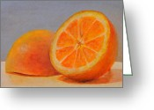 Acrylic Tapestries - Textiles Greeting Cards - Demi Oranges Greeting Card by Muriel Dolemieux
