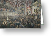 Democratic Party Greeting Cards - Democratic Convention, 1868 Greeting Card by Granger