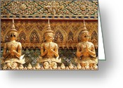 Textured Sculpture Greeting Cards - Demon Guardian Statues at Wat Phra Kaew Greeting Card by Panyanon Hankhampa