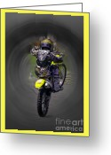 Bike Rider Greeting Cards - Demon Rider Greeting Card by Karen Lewis