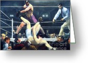 Fighters Painting Greeting Cards - Dempsey and Firpo Greeting Card by Pg Reproductions