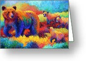 Cubs Painting Greeting Cards - Denali Family Greeting Card by Marion Rose