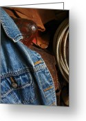 Denim Jacket Greeting Cards - Denim and Leather Greeting Card by Deb Martin-Webster