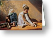 Tying Shoe Greeting Cards - Denim to Lace Greeting Card by Greg Olsen