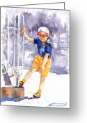 Watercolor  Painting Greeting Cards - Denis 02 Greeting Card by Yuriy  Shevchuk