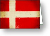 Vintage Map Digital Art Greeting Cards - Denmark flag Greeting Card by Setsiri Silapasuwanchai