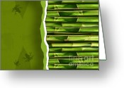 Bamboo Greeting Cards - Dense bamboo stalk with copyspace Greeting Card by Sandra Cunningham