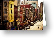 Nyc Cityscape Greeting Cards - Density - Above Chinatown - New York City Greeting Card by Vivienne Gucwa