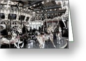 History Pyrography Greeting Cards - Dentzel Menagerie Carousel - Glen Echo Park Maryland Greeting Card by Fareeha Khawaja