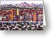 Snow Capped Pastels Greeting Cards - Denver 2002 Greeting Card by Robert  SORENSEN