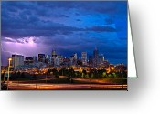 Sunset Greeting Cards - Denver Skyline Greeting Card by John K Sampson