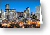 Twilight Photo Greeting Cards - Denver Twilight Greeting Card by Kevin Munro
