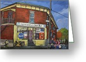 Streets Of Montreal Greeting Cards - Depanneur Chez Bert Montreal Greeting Card by Reb Frost