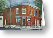 Brick Streets Greeting Cards - Depanneur Surplus De Pain Rue Charlevoix Greeting Card by Reb Frost