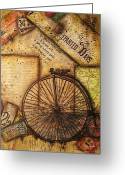 Ephemera Collage Greeting Cards - Departed Days Greeting Card by Kathy Cameron