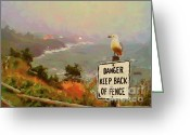 Ocean Landscape Pastels Greeting Cards - Depoe Bay Security Guard Greeting Card by Methune Hively