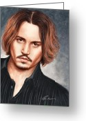 Celebrities Drawings Greeting Cards - Depp Greeting Card by Bruce Lennon