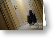 Distraught Greeting Cards - Depressed woman sitting in corridor with head in hands Greeting Card by Sami Sarkis