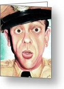 Old Tv Painting Greeting Cards - Deputy of Mayberry Greeting Card by Marvin  Luna