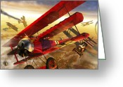 Bi Plane Greeting Cards - Der Rote Baron Greeting Card by Kurt Miller
