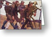 Europe Painting Greeting Cards - Der Totentanz Von Anno Neun Greeting Card by Pg Reproductions
