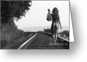 Black And White Photo Greeting Cards - Derailed Greeting Card by David  Naman