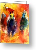 Horse Art Greeting Cards - Derby Horse race racing Greeting Card by Svetlana Novikova