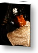 Famous Baseball Stadium Greeting Cards - Derek Jeter - New York Yankees - Baseball  Greeting Card by Lee Dos Santos