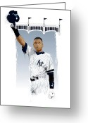 World Series Greeting Cards - Derek Jeter 3000 Hits Greeting Card by Scott Weigner