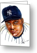 Espn Drawings Greeting Cards - Derek Jeter Greeting Card by Dave Olsen